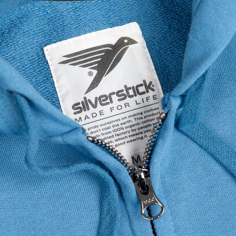 silverstick womens organic cotton tobias ocean blue zip hoodie label