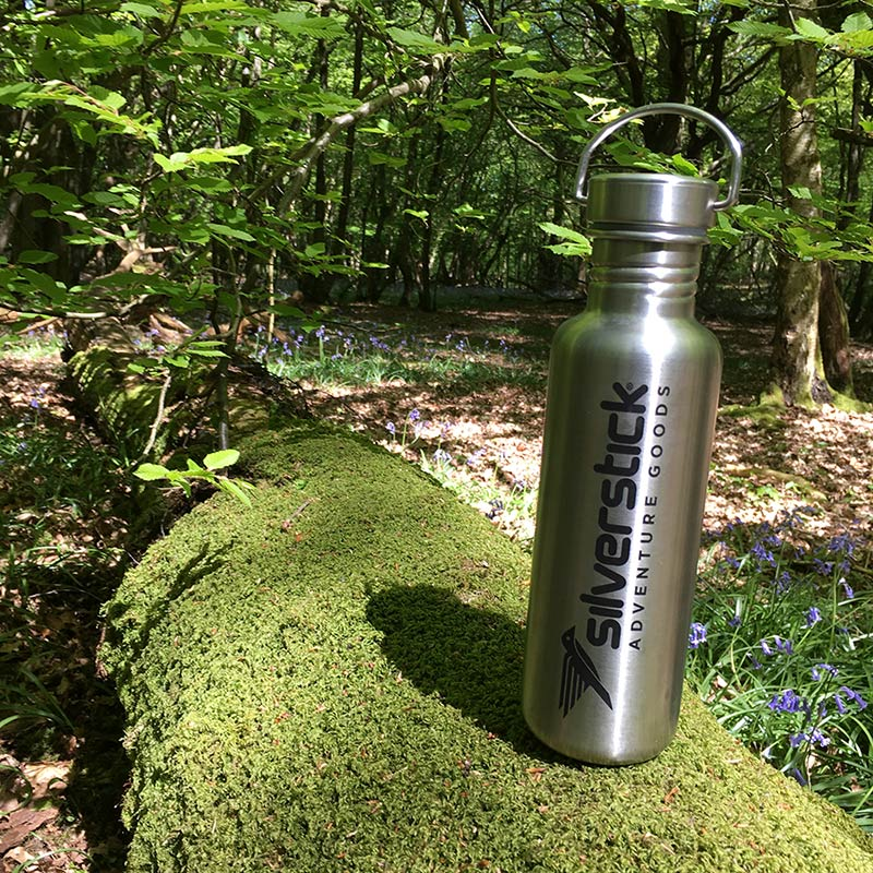 silverstick reusable water bottle matt stainless steel 750ml woods