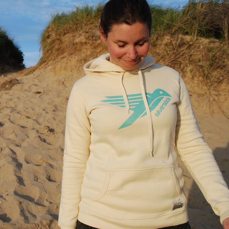 silverstick womens organic cotton lancelin original logo natural hoodie adventure