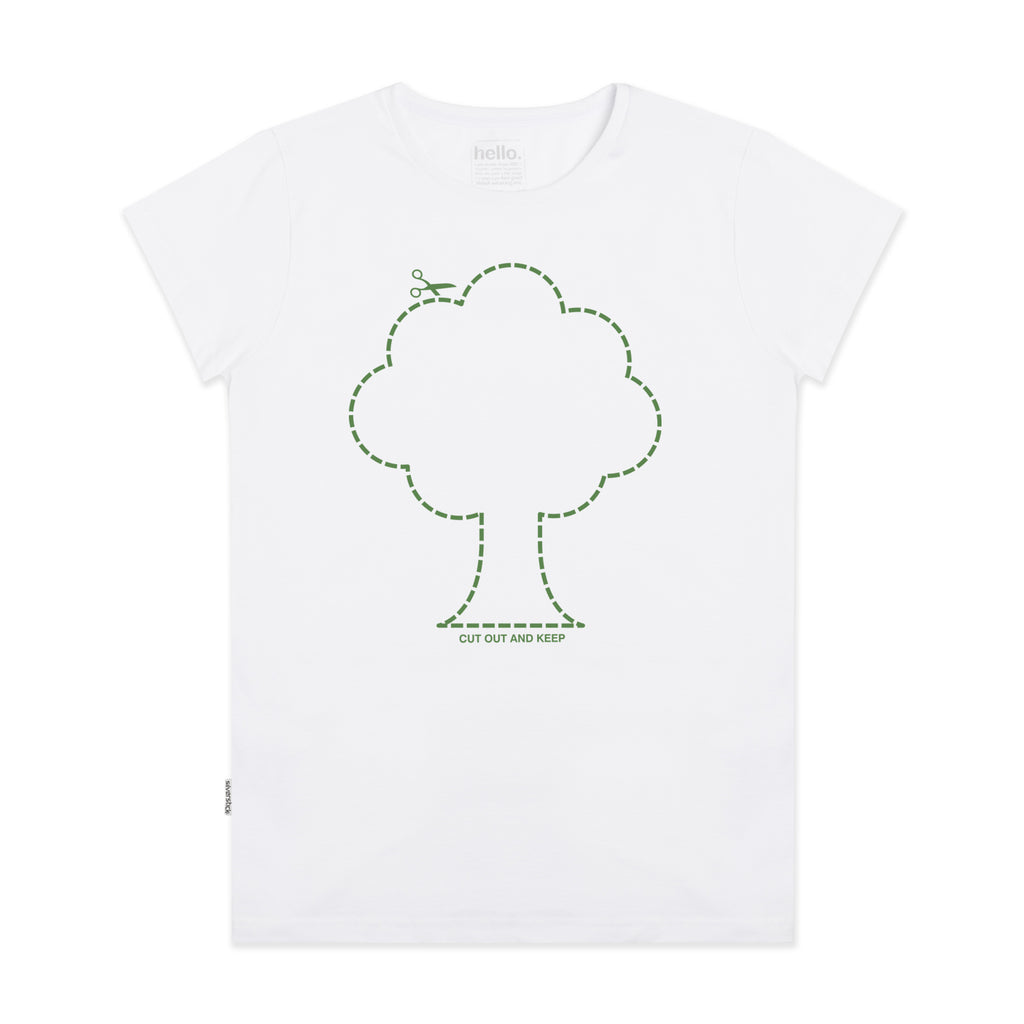 Silverstick Womens Organic Cotton Tee Cut Out Tree White