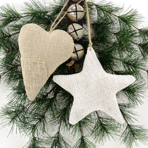 Antique Grain Sack Linen Heart and Star - beautiful additions to your rustic country Christmas décor