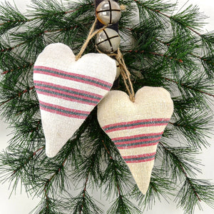 Antique Grain Sack Linen Hearts - beautiful additions to your rustic country Christmas décor