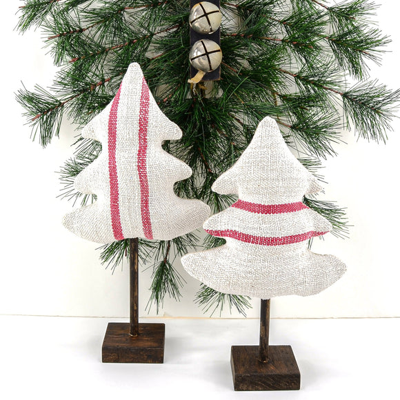 Antique Grain Sack Linen Small Trees - beautiful additions to your rustic country Christmas décor