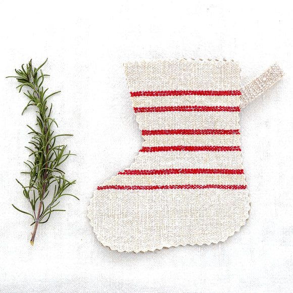 Small Antique Linen Christmas Stockings - perfect as tree ornaments, gift or gift card holders, table settings