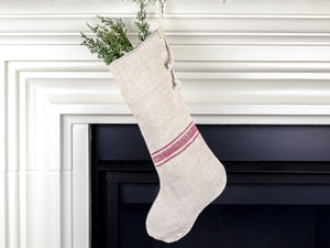 Antique Linen Christmas Stocking - perfect for holding lots of Christmas surprises