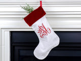 Antique Linen Christmas Stocking - choose your own monogram