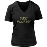 Ladies Dog Blessed Dark V-neck