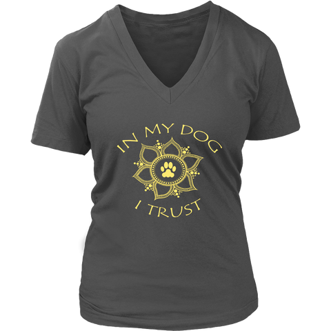 In My Dog I Trust Ladies Dark V-neck