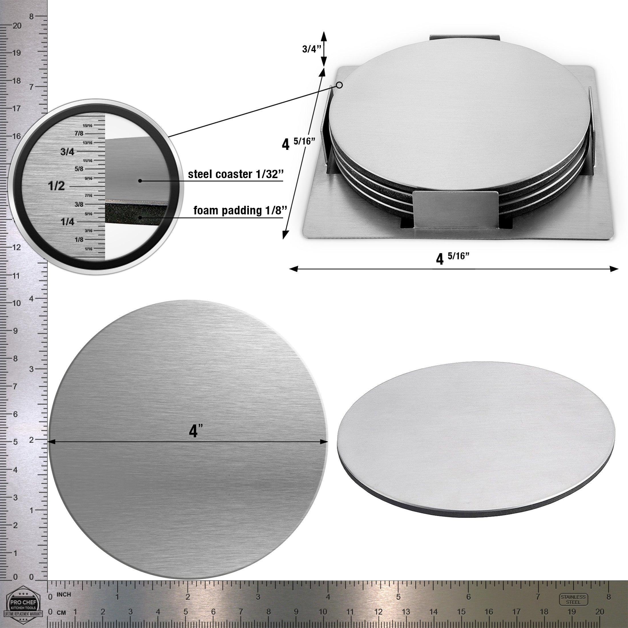 Pro Chef Kitchen Tools Stainless Steel Beverage Coaster Set   Set Of 4  Round Table Coasters To Prevent Tabletop Stains And Scratches From Glasses,  ...