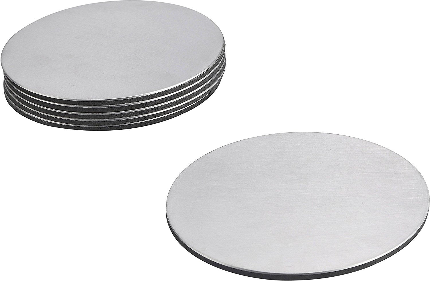 Pro Chef Kitchen Tools Stainless Steel Drink Coaster Set   Prevent Stains  And Scratches With 6 Round Table Coasters For Glasses, Bar Drinks, Mugs, ...