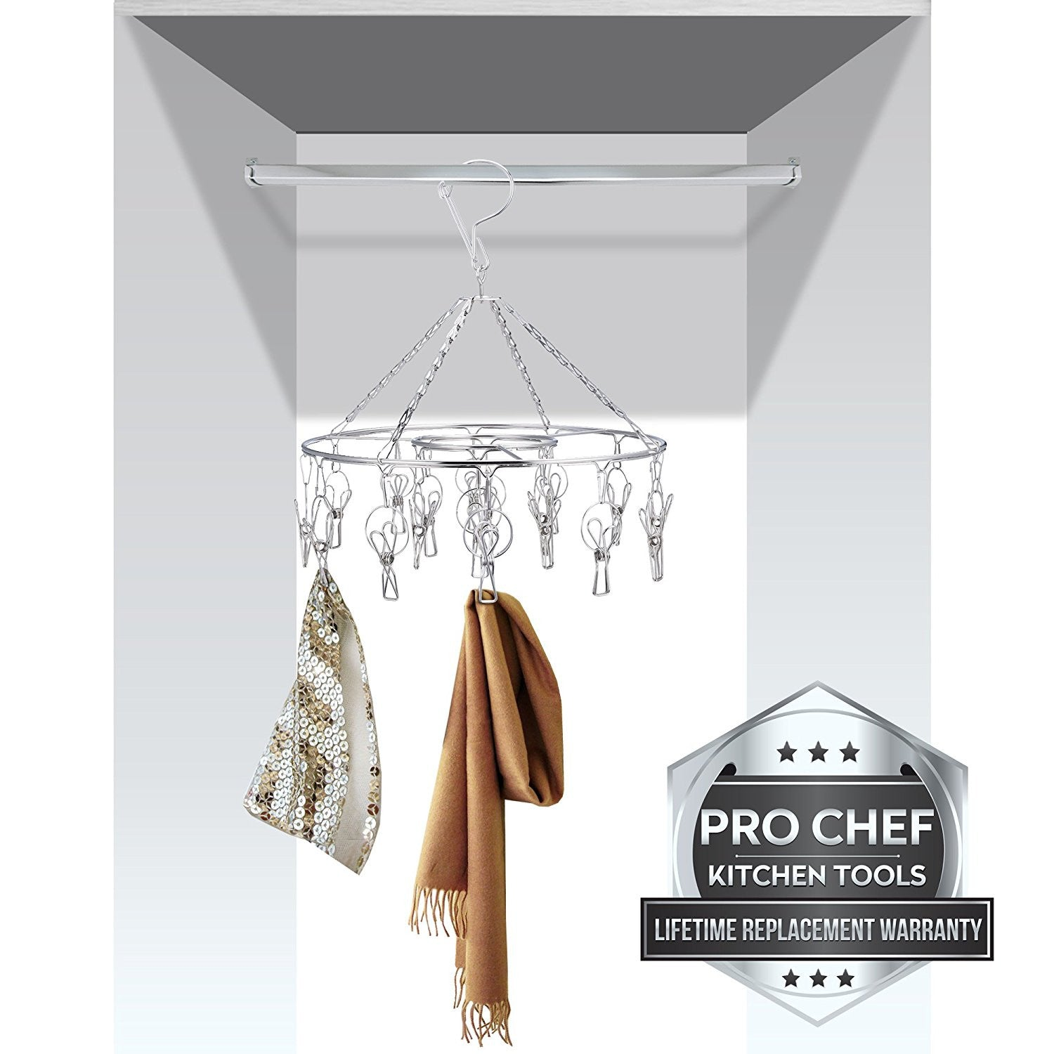 Pro Chef Kitchen Tools Stainless Steel Laundry Drying Rack - Round Com