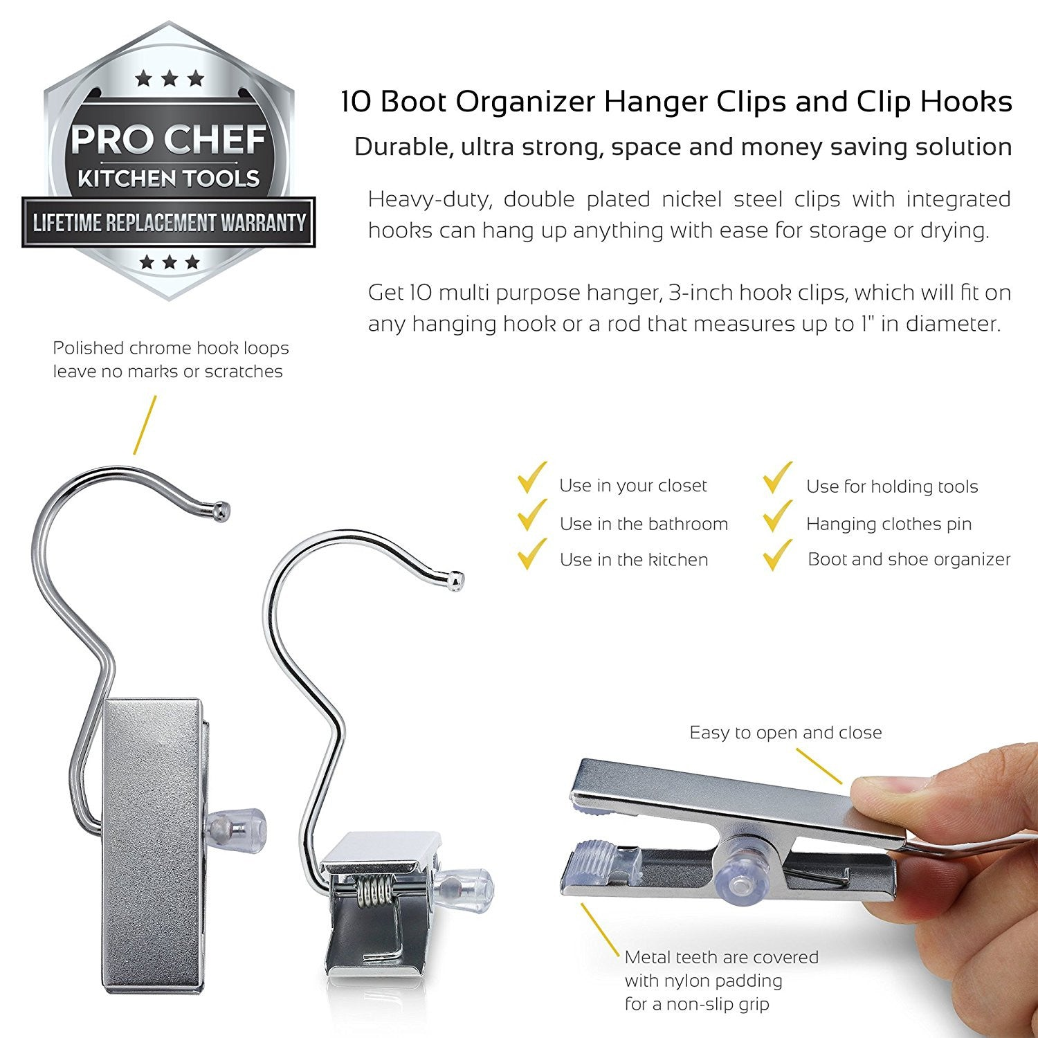 Hooks To Hang Clothes pro chef kitchen tools stainless steel hanging clip hook - set of 10 b