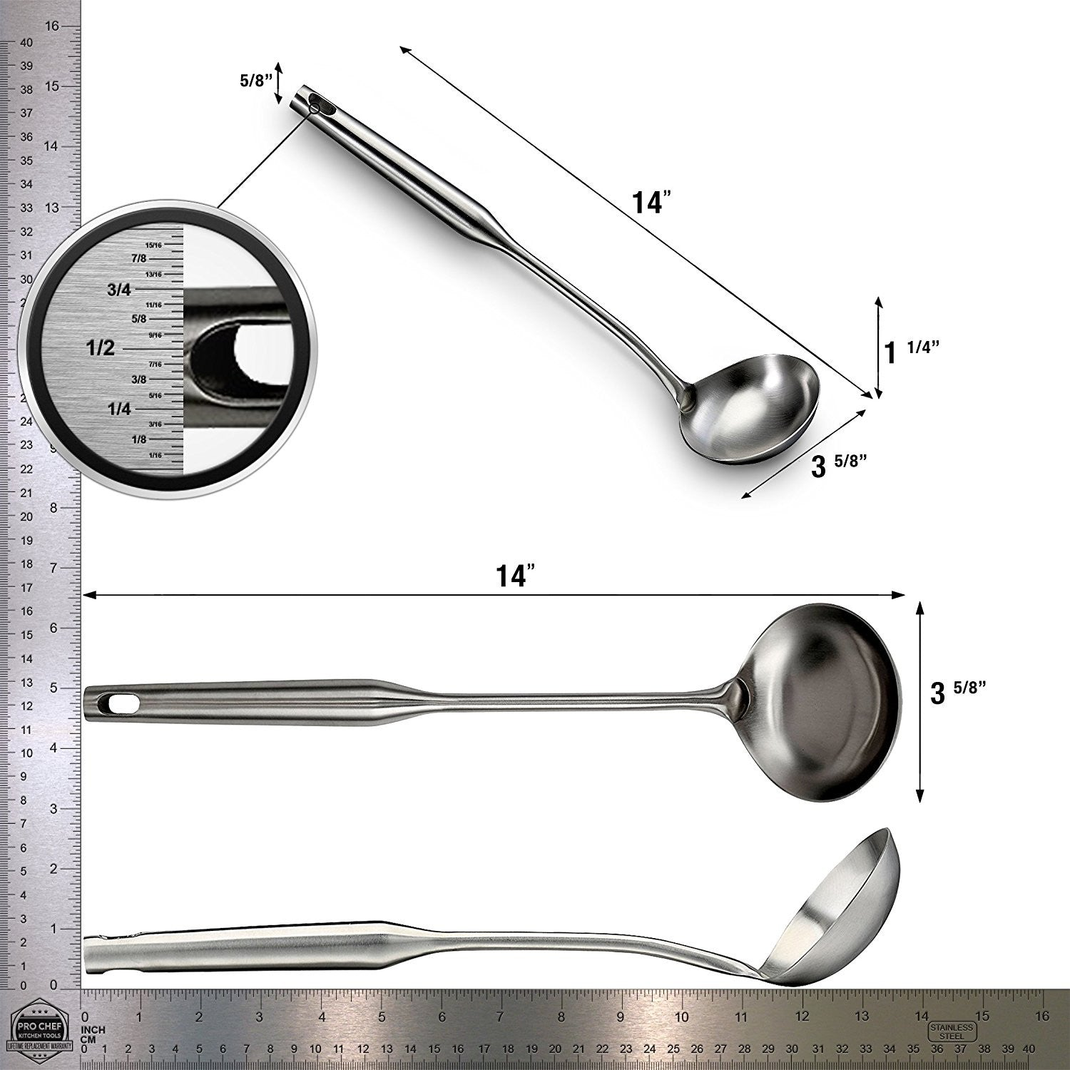 Pro Chef Kitchen Tools Stainless Steel Soup Ladle Spoon Prepare and