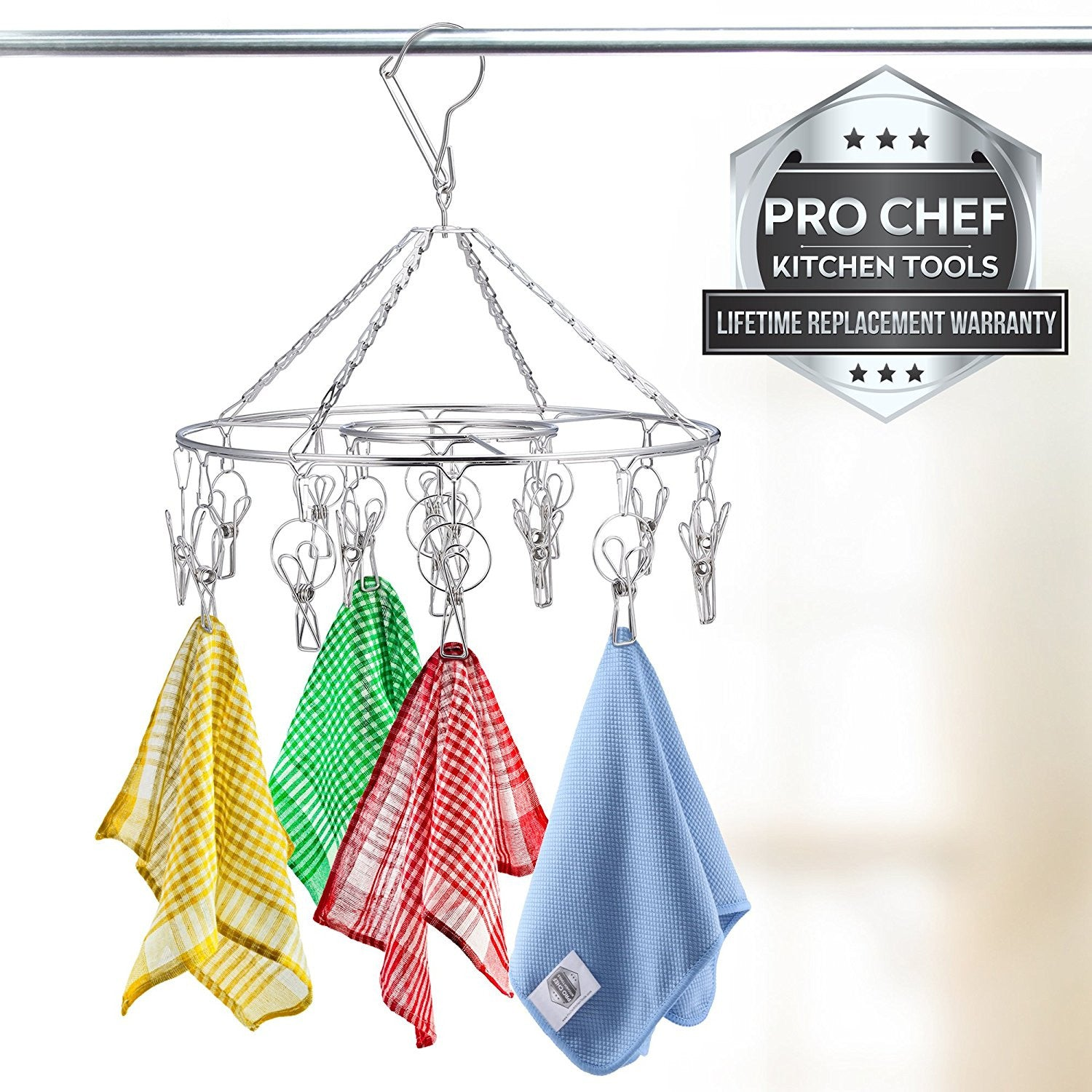 Pro Chef Kitchen Tools Stainless Steel Laundry Drying Rack   Round Compact Portable  Outdoor Or Indoor Clothesline Replacement Will Dry Clothing Anywhere And ...