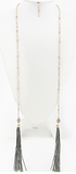 Lightly Beaded Wrap Around Necklace With Tassel & Earrings (Green & Ivory Available)
