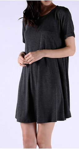 Brennan's Charcoal T Shirt Dress with Pocket