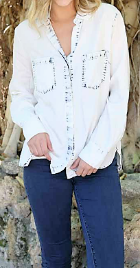 Bleached Denim Button Up Top