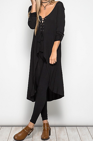 Tabitha's Tie Up Tunic In Black