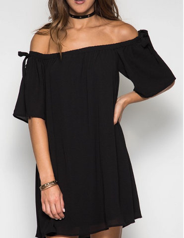 Brooklyn in Black Off the Shoulder Dress