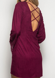Long Sleeve Suede Shift dress with embellished sleeves