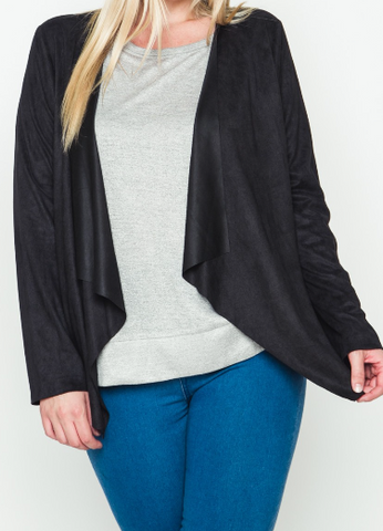 Black Suedette Cardigan (Plus)