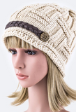 Braided Leather Band Beanie Hat