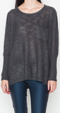Charcoal Top with draped pocket