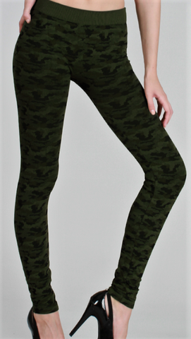 Camo Print Thick Leggings (Two Colors Available)