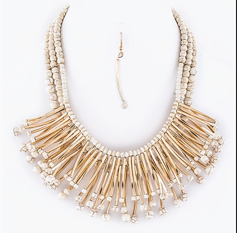 Fringe Tubes & Beads Necklace with earrings