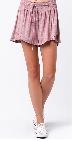 Smocked Short in Mauve