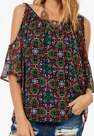Patterned off the shoulder top