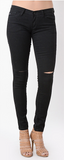 Black Denim with Knee Slits