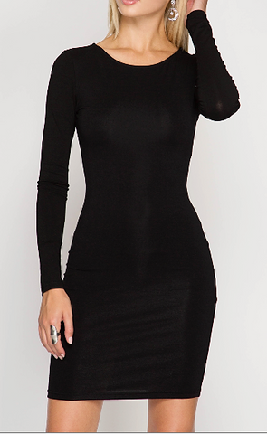 Basic Long Sleeve Body Contouring Dress (2 Colors Available)
