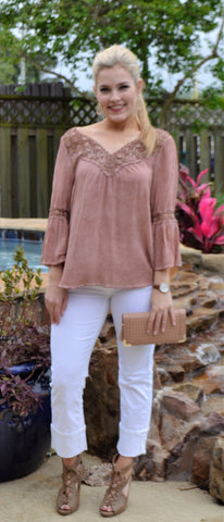 Embroidered Blush Top