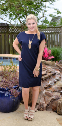 Never Outgrow Navy Dress