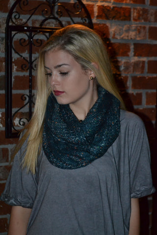 Teal Winter Scarf with Metallic Accents