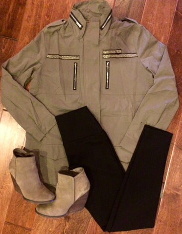 Olive POL jacket is ON POINT