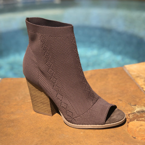 Polly's Peep Toe Bootie in Taupe