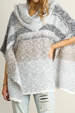 Knit Cowl Neck Poncho Style Tunic