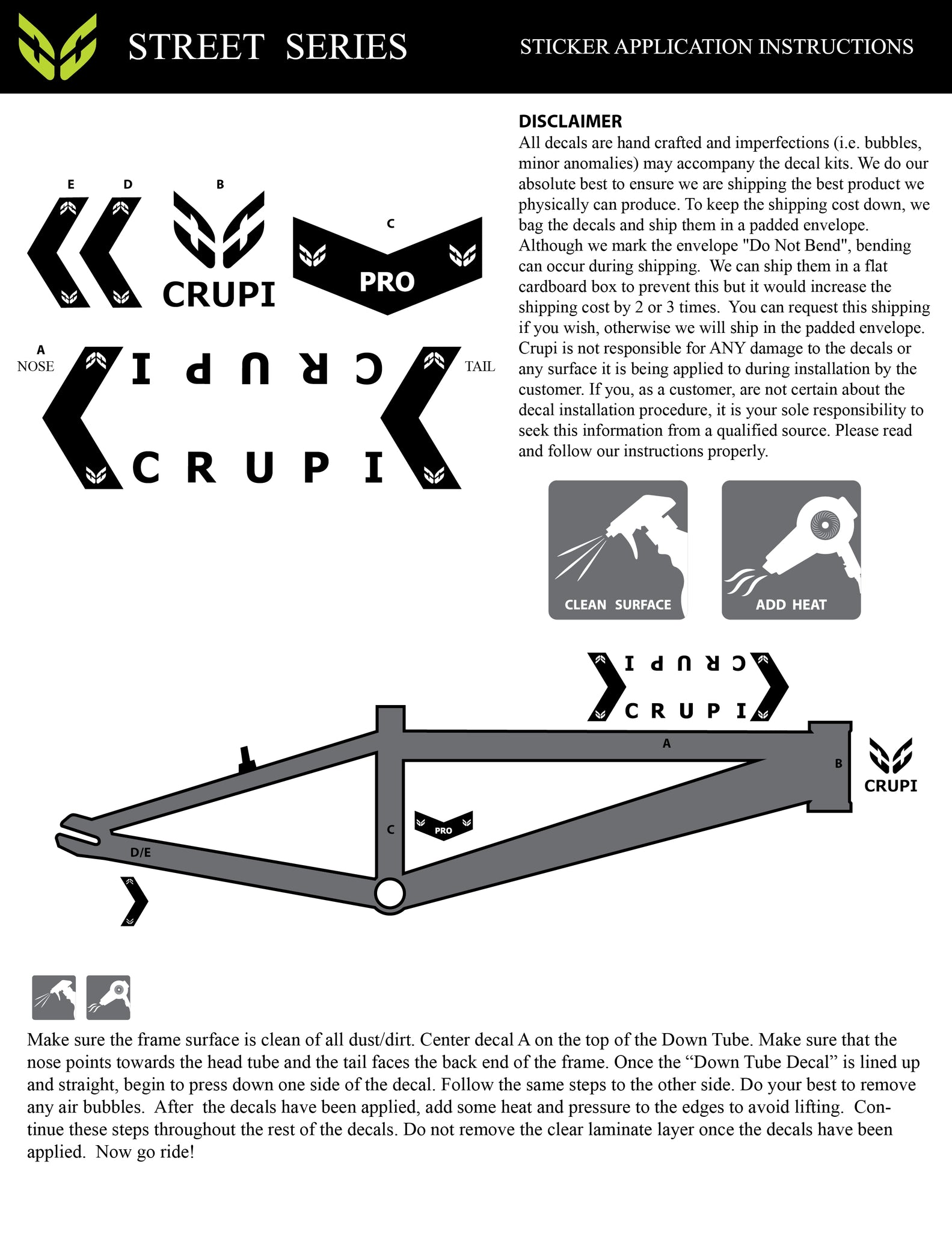 graphic regarding Decal Application Instructions Printable identified as Highway Collection Decal Software Crupi BMX