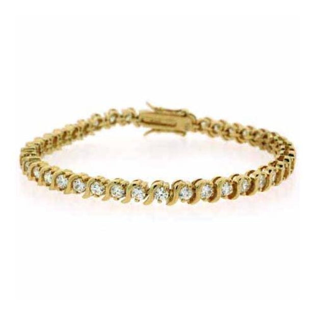 24k over Sterling Silver Created Diamond CZ Bracelet