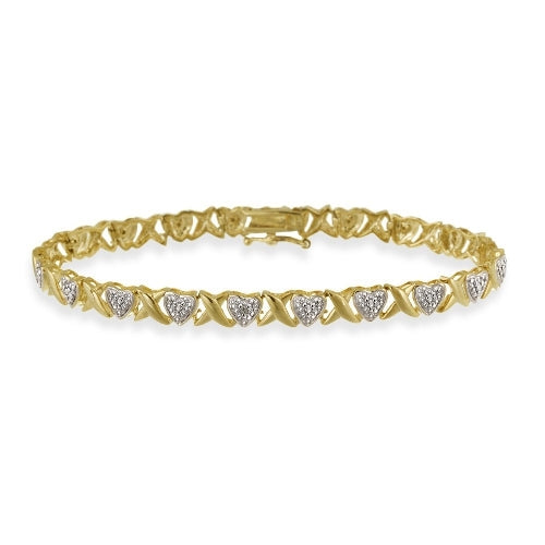 18K Gold over Sterling Silver Diamond Accent 'X' & Heart Bracelet