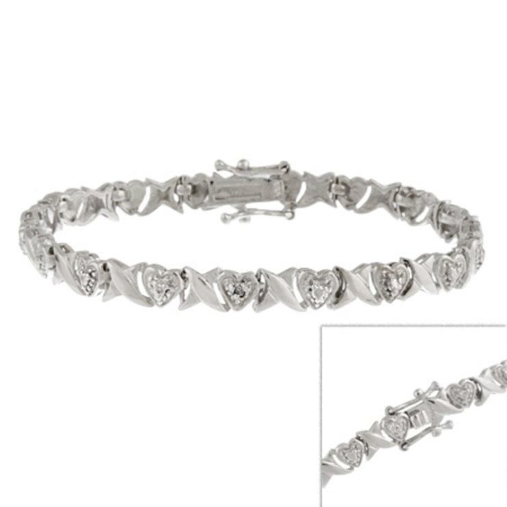 Sterling Silver 1/4 ct Diamond  X & Heart Bracelet