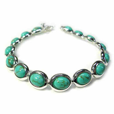Stunning! Sterling Silver Bracelet with oval Turquoise Stone