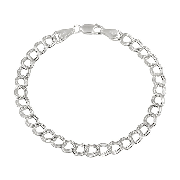 Sterling Silver Italian Polished Double Link Chain Bracelet for Charms, 8-Inches