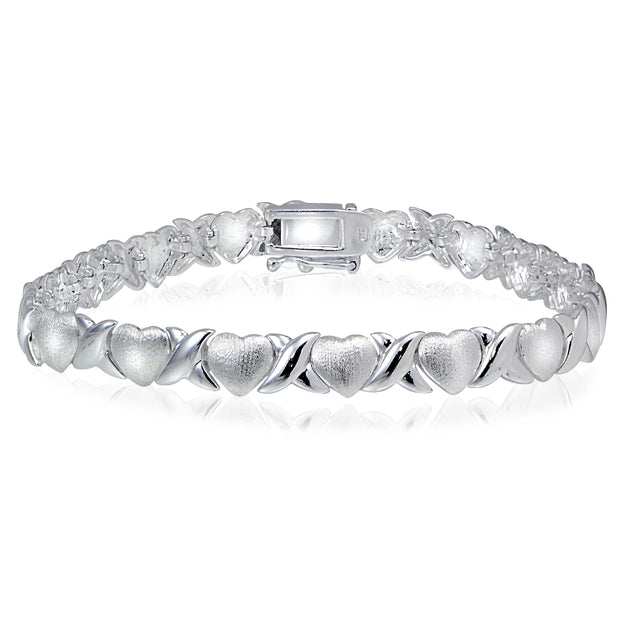 Sterling Silver polished & satin X & heart Bracelet