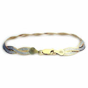 Two tone  24 kt Gold over Sterling Silver and Sterling Silver 2 braid w/ satin pattern wrap Bracelet