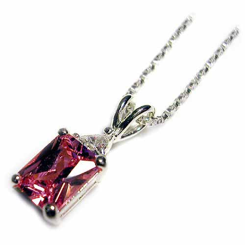 Sterling Silver 2.9ct Pink & Clear CZ Emerald-Cut Solitaire Pendant