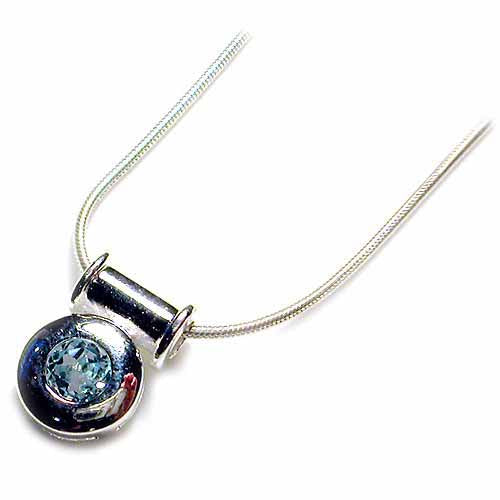Sterling Silver slide Macaroni Pendant with round bezel set Genuine Blue Topaz