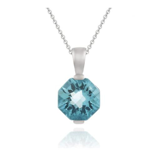 Sterling Silver 3.6ct Aquamarine CZ Octagon Solitaire Pendant